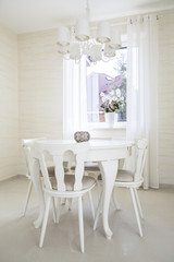 Vertical view of classic table with chairs