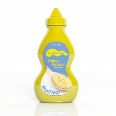 3D mustard plastic yellow bottle isolated on white