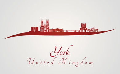 York skyline in red