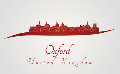 Oxford skyline in red
