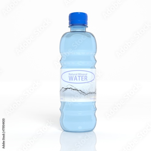 3D water transparent plastic bottle isolated on white - 71934430