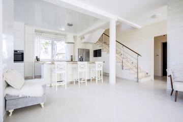 Bright open kitchen in modern interior, horizontal