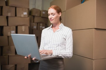 Manager using laptop in warehouse