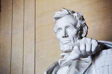 Close up Abraham Lincoln statue, Lincoln memorial, Washington.