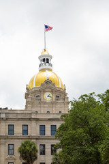 Gold Dome and Clock on Savannah City Hall
