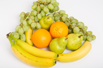Oranges Grapes Bananas and Pears on White