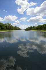 Reflecting pool with Washington monument in background.