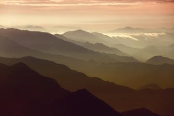 A view of a morning sunrise over Kathmandu, Nepal.