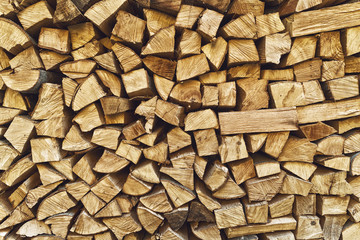 Firewood logs stacked