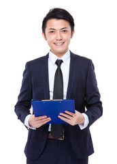 Business man hold with clipboard