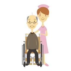 車いすのおじいちゃんと看護婦さん