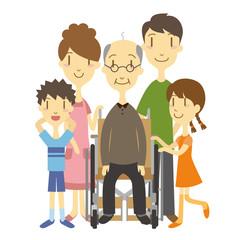 車いすのおじいちゃんと家族