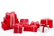 canvas print picture - Weihnachtsgeschenke vor weißem Hintergrund