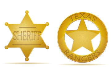 star sheriff and ranger vector illustration