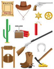 western set icons wild west vector illustration