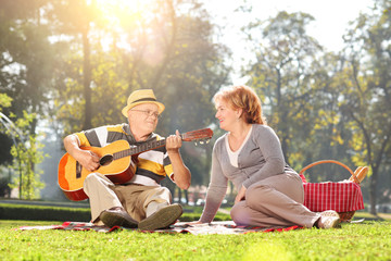 Senior playing guitar for his wife on a picnic