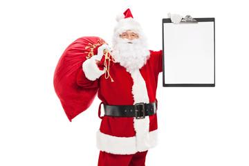 Santa Claus holding a clipboard