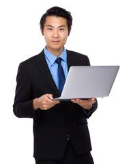 Businessman use of laptop computer