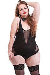 The girl in a bathing suit with obesity