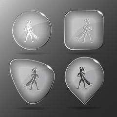 Ethnic little man with trumpet. Glass buttons. Vector illustrati