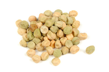 Green Peas Seeds Isolated on White Background