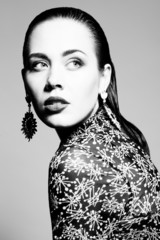 High fashion concept. Portrait of glamorous young model