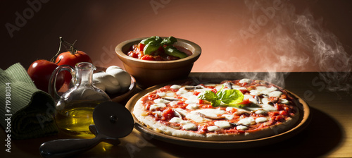Pizza with ingredients on the wooden table - 71938034