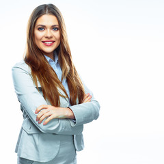 Business woman portrait. Crossed arms. White background