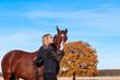 beautiful woman walking with horse - 71938853