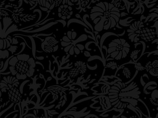 Abstract dark seamless floral pattern