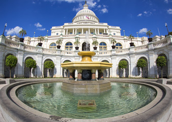 Fisheye photo of Capitol building with fountain, Washington