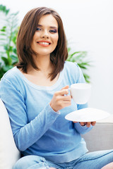 Woman drinking coffee,  close up face