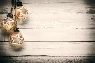 Christmas decorations on old wooden planks
