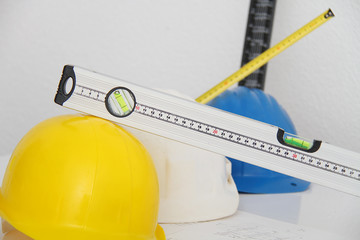 Helmets and tools for construction drawings and buildings