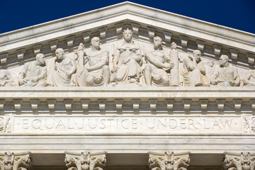 Frieze on top of Supreme Court house in Washington.