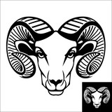 Ram head logo or icon. Inversion version included.