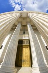 Supreme courthouse in Washington, close up.
