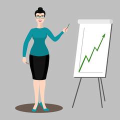 Business woman shows a graph