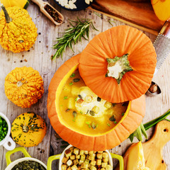 Traditional seasonal pumpkin soup