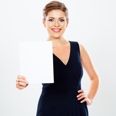Business woman hold banner, white background  portrait