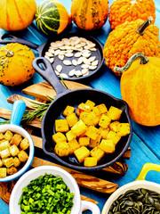 Autumn fruits and vegetables - fried pumpkin