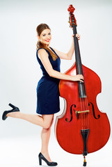concept for big business with business woman doublebass play .