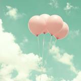 Four vintage pink balloons