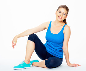 fitness woman resting between exercises.
