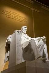 Abraham Lincoln memorial statue illuminated, Washington