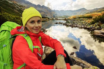 Hiking, trekking - tourist on mountain trek