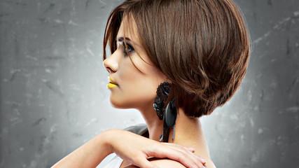 woman face. bob haircut. profile view. beauty face . short hair