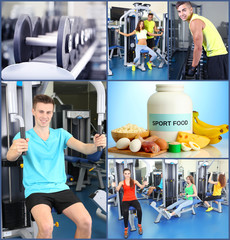 Collage of sportsmen and sport nutrition