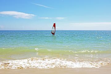 Windsurfing on the atlantic ocean near Lagos in Portugal