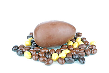 Chocolate egg with little eggs